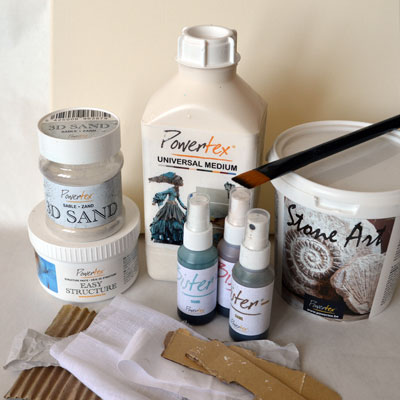 Ingredients for textured Powertex art on canvas