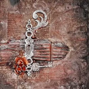 Mixed media Powertex canvas Key by Kore Sage