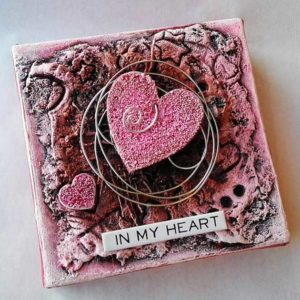 Mixed media pink heart canvas by Kore Sage