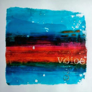 Voice mono print by Kore Sage, published on cover on Martlets Hospice Art Therapy service brochure.