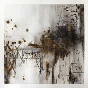 Art table reflection, August 2020. Powertex art using Black Bister and Rusty Powder by Kore Sage