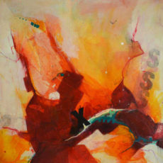 Bold orange abstract seascape artwork by Kore Sage