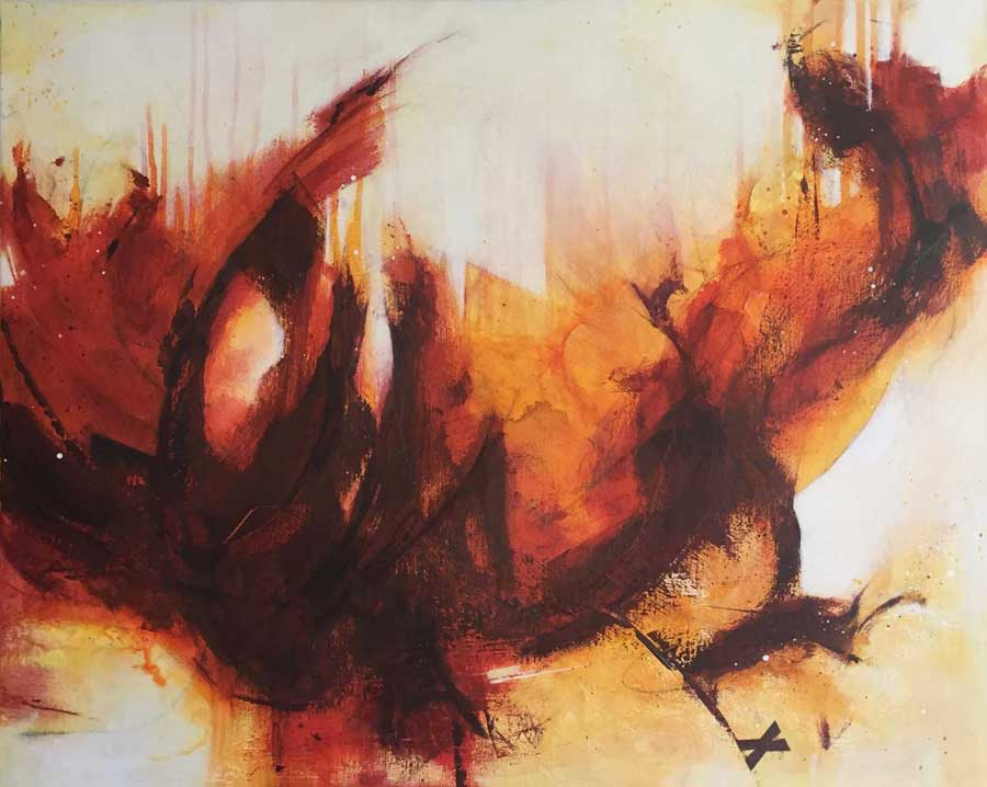 Red and orange abstract seascape by Kore Sage