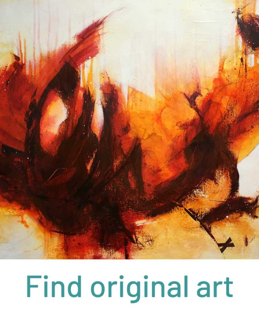 Find Original Art showing red and orange abstract expressive painting by Kore Sage