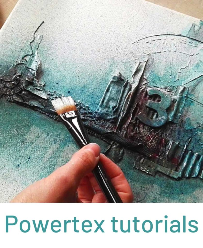 Powertex Tutorial with hand holding a paintibrushh over blue Powertex painting by Kore Sage