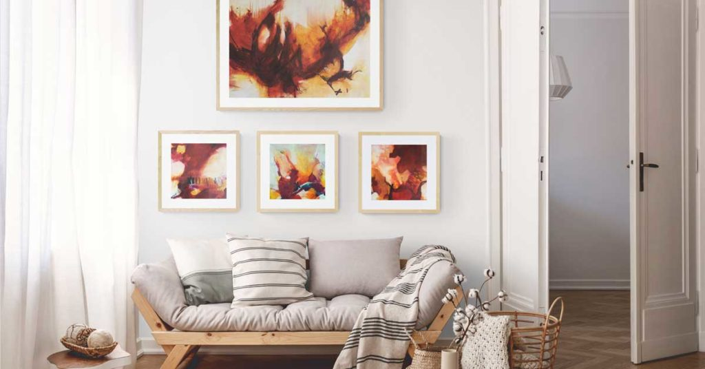Changes Red Abstract Seascape Collection by Kore Sage on a white wall with neutral furnishings